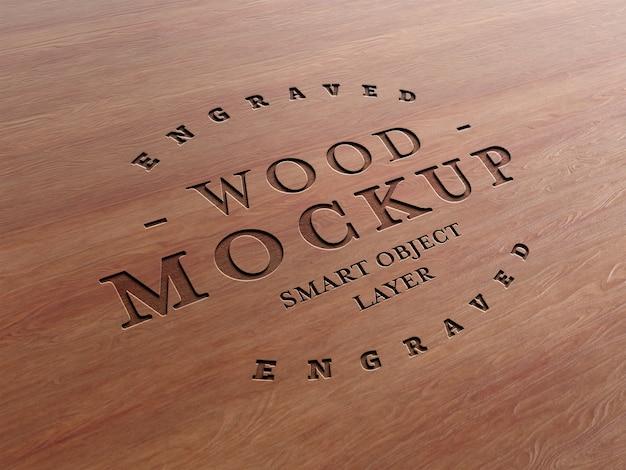 Gegraveerde houten teksteffect mockup