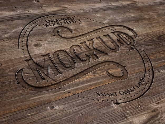 Gegraveerde houten teksteffect