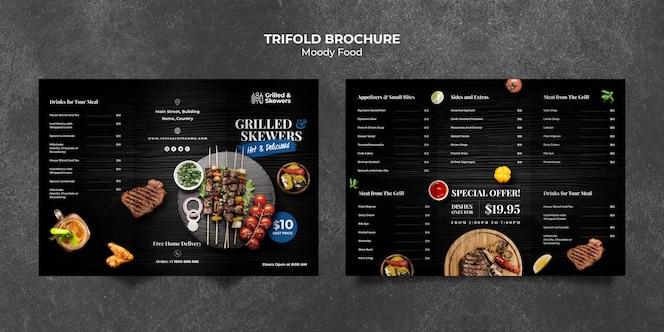 Gegrilde biefstuk en groenten driebladige brochure sjabloon