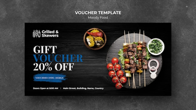 Gegrilde steak en groenten restaurant voucher sjabloon