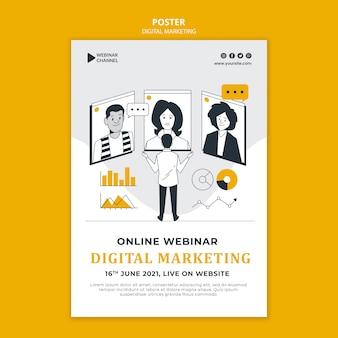 Geïllustreerde afdruksjabloon voor digitale marketing