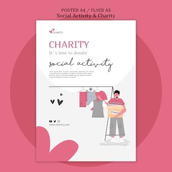 Geïllustreerde afdruksjabloon voor sociale activiteiten en liefdadigheid