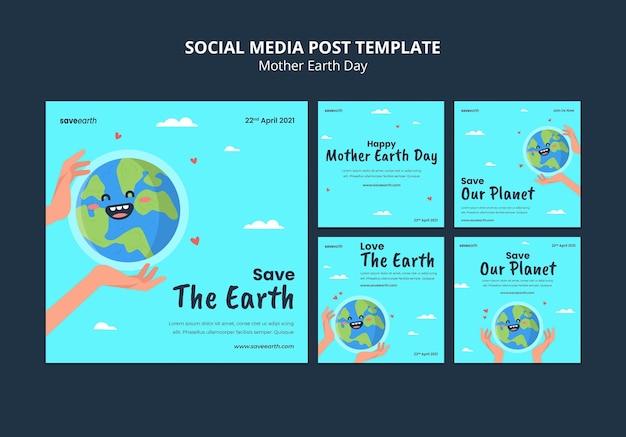 Geïllustreerde berichten van de dag van de moeder aarde