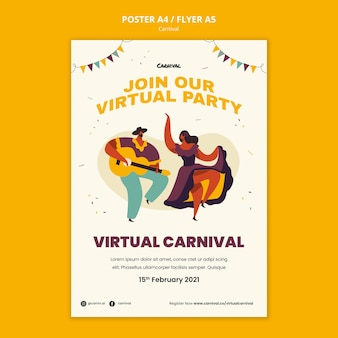 Geïllustreerde carnaval poster sjabloon
