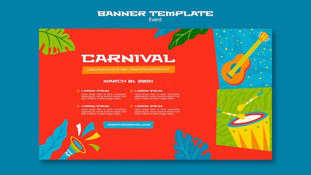 Geïllustreerde carnaval-sjabloon voor spandoek Gratis Psd