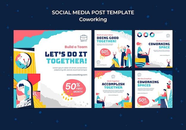 Geïllustreerde co-working posts op sociale media
