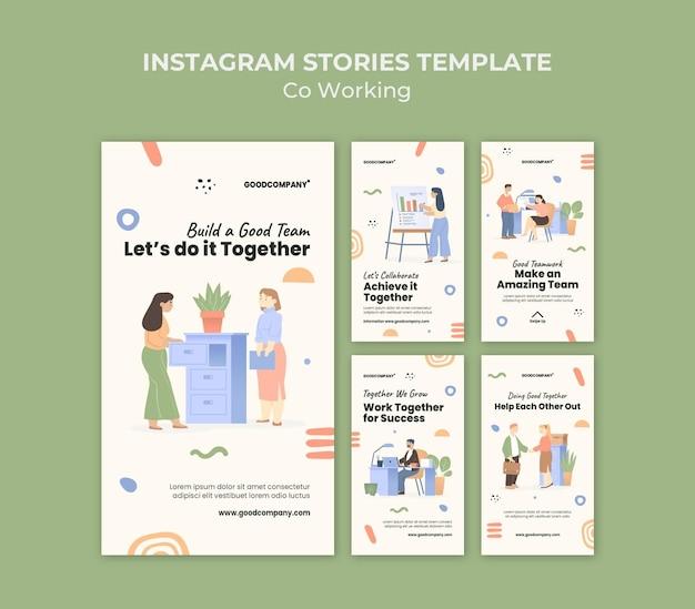 Geïllustreerde co-working social media verhalen