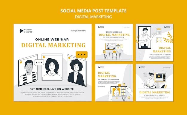 Geïllustreerde digitale marketing instagram-berichten