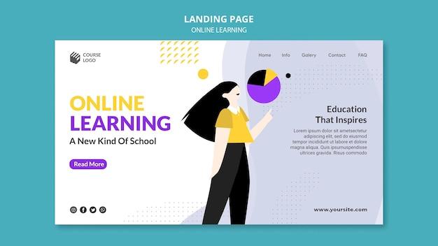 Geïllustreerde e-learning bestemmingspagina-sjabloon