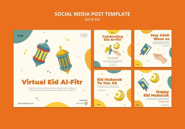 Geïllustreerde eid al-fitr posts op sociale media