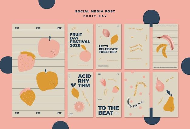 Geïllustreerde fruitdag instagramverhalen
