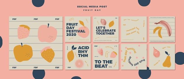 Geïllustreerde fruitdag social media posts