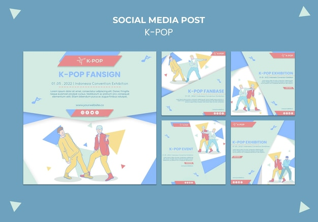 Geïllustreerde k-pop posts op sociale media