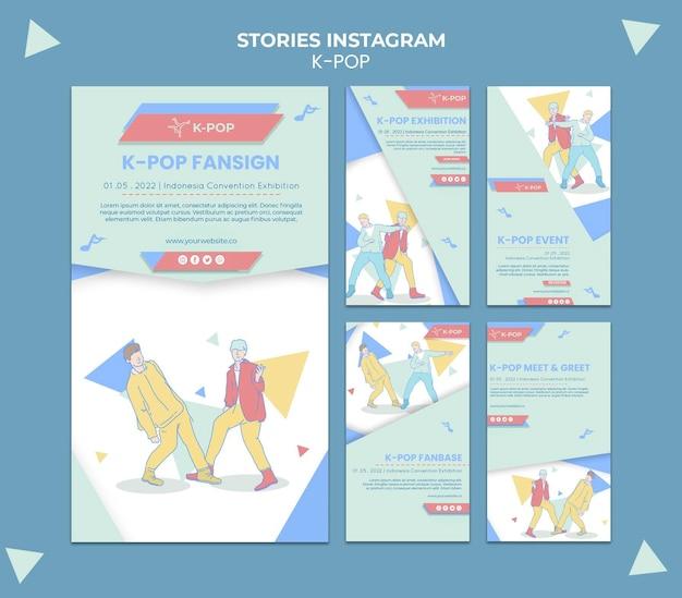 Geïllustreerde k-pop social media-verhalen