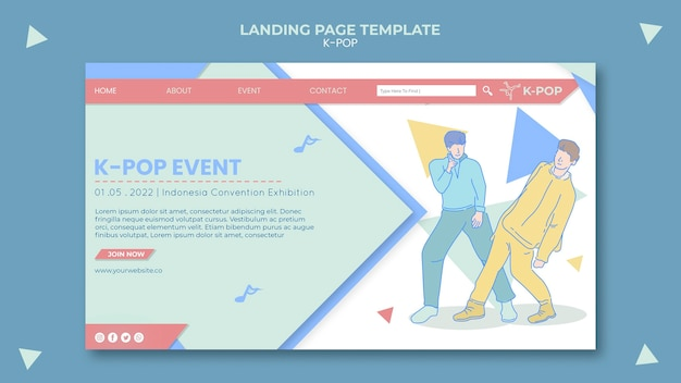 Geïllustreerde k-pop webpagina-sjabloon