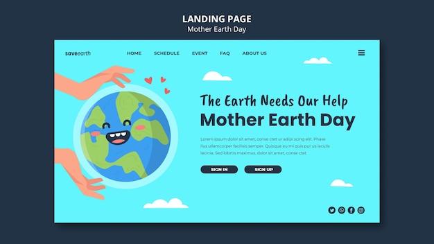Geïllustreerde landingspagina van de dag van de moeder aarde