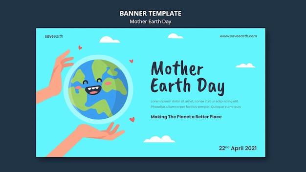Geïllustreerde moeder aarde dag sjabloon voor spandoek