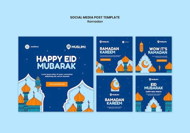 Geïllustreerde ramadan kareem instagram-berichten