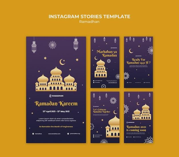Geïllustreerde ramadan kareem instagram-verhalen