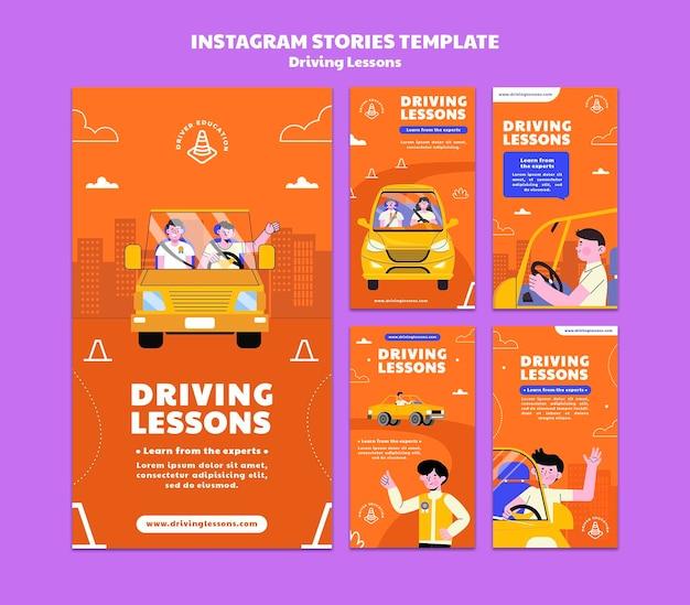 Geïllustreerde rijschool sociale media verhalen