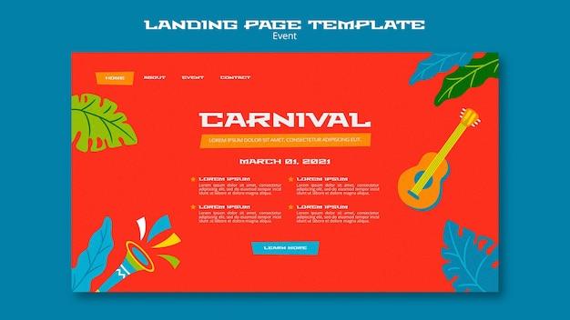 Geïllustreerde sjabloon voor de bestemmingspagina van carnaval
