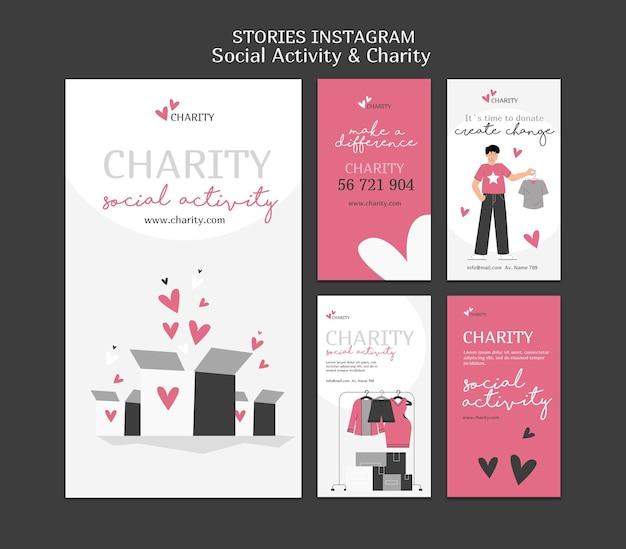 Geïllustreerde sociale activiteit en liefdadigheid instagram-verhalen