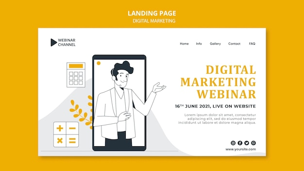 Geïllustreerde websjabloon voor digitale marketing