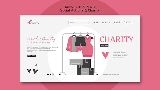 Geïllustreerde websjabloon voor sociale activiteiten en liefdadigheid