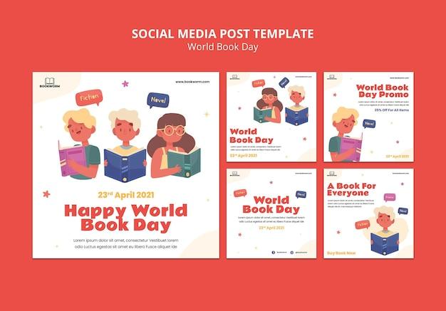Geïllustreerde wereldboekdag instagram-berichten