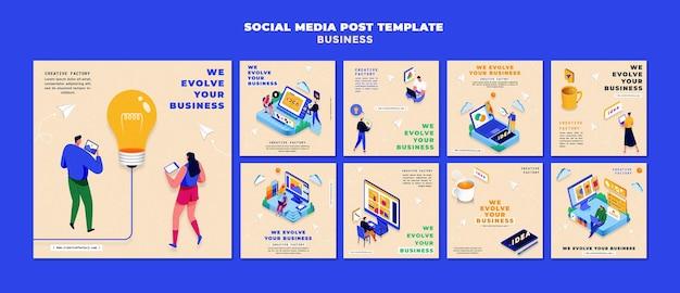 Geïllustreerde zakelijke instagram-berichten Premium Psd