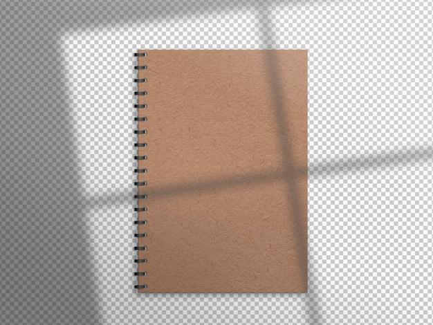 Geïsoleerd bruin boek met schaduw