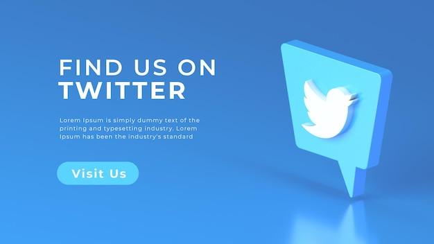 Geïsoleerd social media twitter-logo met 3d-rendering webconcept