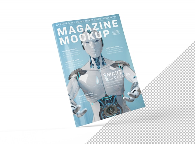 Geïsoleerd uitgesneden blanco a4 magazine cover mockup floating