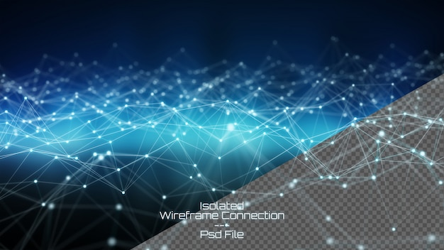 Geïsoleerd verwijderd digitaal wireframed netwerk bij het donkere 3d teruggeven als achtergrond