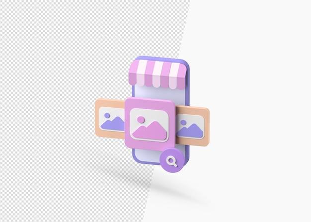 Geïsoleerd zoekproduct op telefoon 3d concept