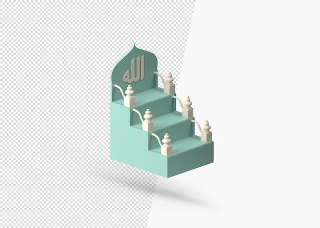Geïsoleerde 3d-islamitische mimbar realistisch ontwerp