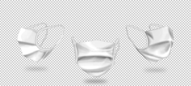 Geïsoleerde 3d-maskers met drie weergaven