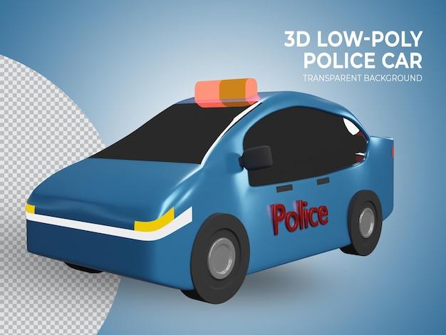 Geïsoleerde 3d teruggegeven laag poly blauwe politiewagen