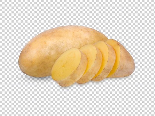 Geïsoleerde aardappelen. snijd rauwe aardappel groenten geïsoleerd