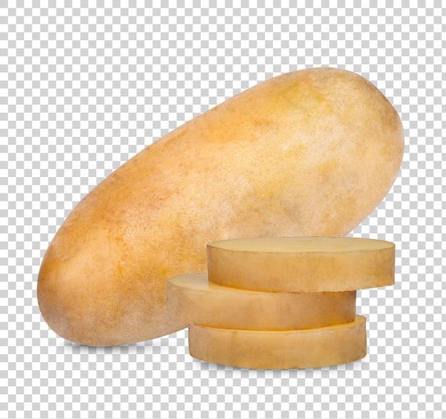 Geïsoleerde aardappelen. snijd rauwe aardappelgroenten: groenten voor soep: geïsoleerd op een witte achtergrond met uitknippad premium psd