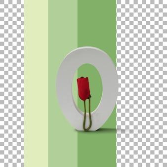 Geïsoleerde brief met rode roos