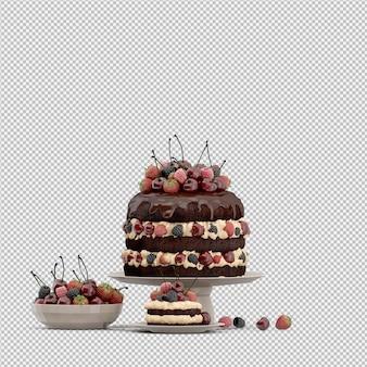 Geïsoleerde cake 3d geeft terug
