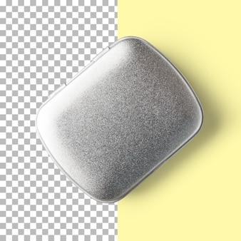 Geïsoleerde close-up weergave van metalen snoepdoos