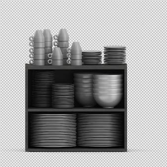 Geïsoleerde gerechten 3d geïsoleerde render