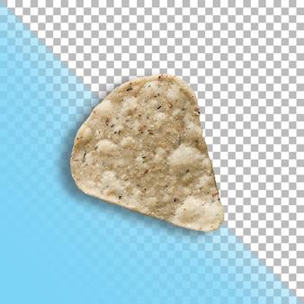 Geïsoleerde gezouten chip op transparante achtergrond.