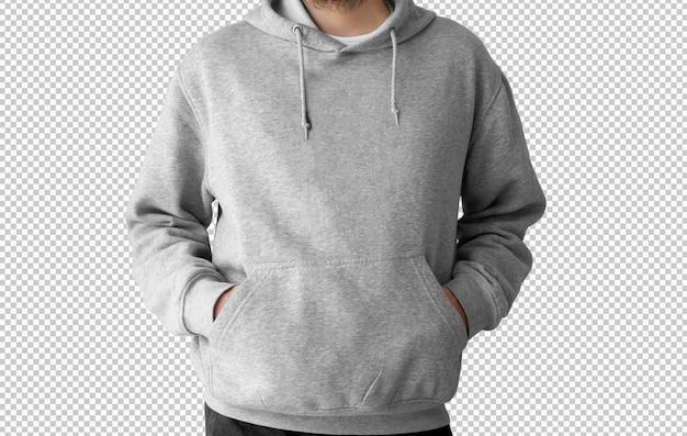 Geïsoleerde grijze hoodie voorkant