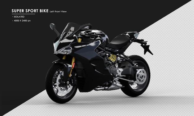 Geïsoleerde jet black super sport bike from left front view