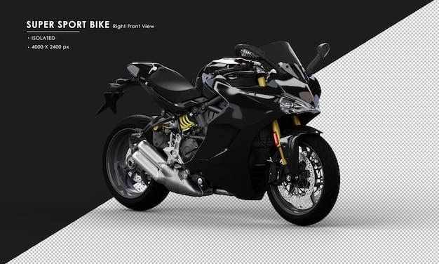 Geïsoleerde jet black super sport bike from right front view