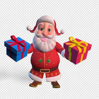 Geïsoleerde karakter illustratie van de kerstman met geschenkdozen