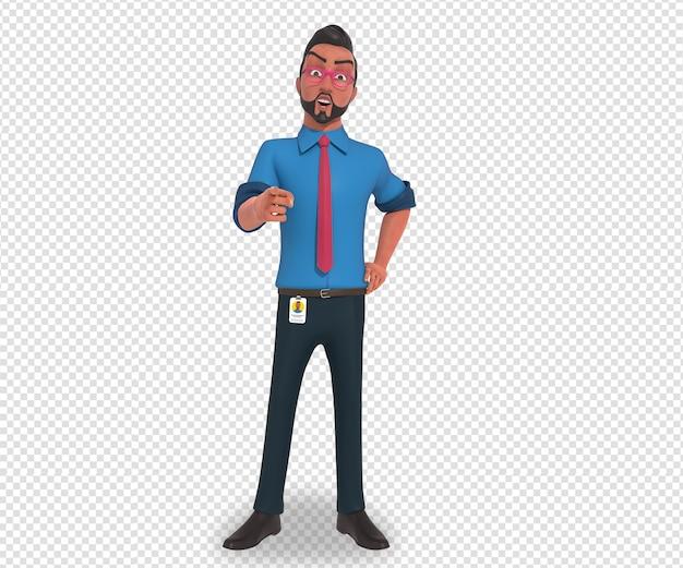 Geïsoleerde karakter illustratie van zakenman cartoon mascotte wijzend op camera